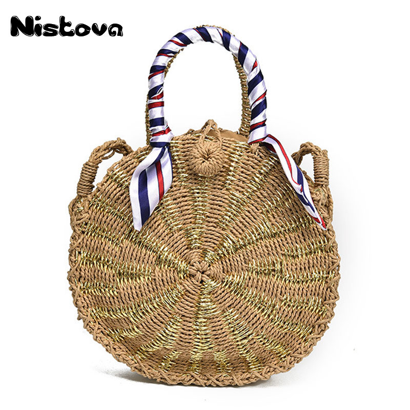Women Natural Straw Bag Summer Rattan Woven Circular Hasp Handbag Travel Bali Bohemian Beach Knitted Shoulder Crossbody Bag 2018 women hand woven round rattan straw bag ins bali bag bohemian beach circle bag circular handbag shoulder