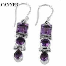 Canner 2019 New Boho Long Dangle Fringe Purple Zircon Earrings Vintage Mystic Birthstone Valentine Gifts Statement Party Jewelry