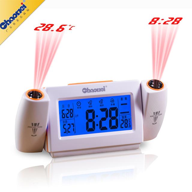 Chaowei projeção dupla despertador ativado por som original lcd back-light, multifunções tempo/temperatura relógio de projeção dupla