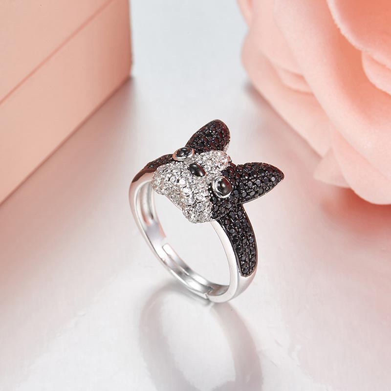 Cooperative New Logo Manaco French Bulldog Finger Ring Fine Jewelry Adjustable Size 925sterling Silver Rings For Women Birthday Gift Jewelry