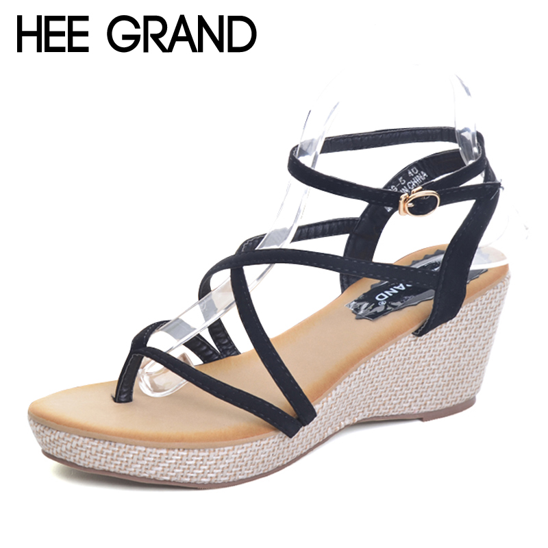 HEE GRAND 2017 Gladiator Sandals Platform Wedges Summer Creepers Casual Buckle Shoes Woman Sexy Fashion High Heels XWZ4334 hee grand lace up gladiator sandals 2017 summer platform flats shoes woman casual creepers fashion beach women shoes xwz4085