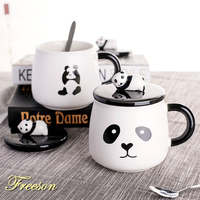 Porcelain Mug Cute Panda with Spoon Lid Creative Coffee Tea Mug Cartoon Milk Mug Beer Mug Ceramic Student Water Cup Drinkware