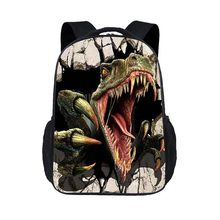 3D Velociraptor pattern World Park Schoolbag knapsack Jurassic Dinosaur Backpack Toys For Child Travel BookBag(China)