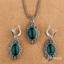 Женя под старину Зеленый Опал Висячие серьги и кулон Цепочки и ожерелья комплект тайский серебряный Цвет Ретро марказит Ювелирные наборы XS154