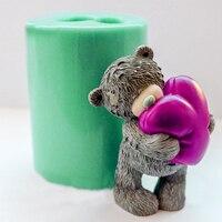 Teddy Bears Heart Silicone Molds Bears Soap Mold Heart Silicone Soap Molds Hearts Bear Silica Gel