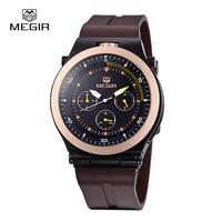 Megir新しいファッション発光メンズ腕時計カジュアルアナログクォーツブランド腕時計男シリコーン腕時計男