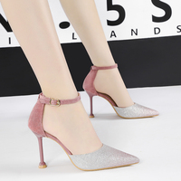 Woman Shoes glitter High Heels shoes buckle pumps mixed color Pointed toe sandals summer hollow Slides luxury zapatos mujer