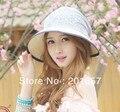 Mujeres de la manera Grande Ancho Brim Floppy arco de encaje adulto precioso Sun Straw Hat Cap Envío Gratis