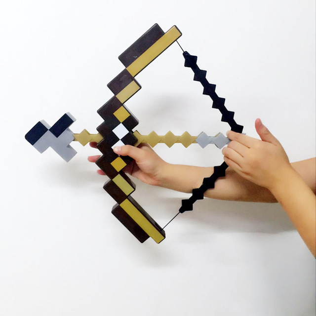 Minecraft Toy Pixel Mosaic Minecraft Bow and Arrow Sword Pickaxe Set of Plastic Assembled set of Children's toy game dead souls