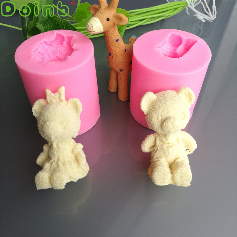 Doinb Cute Bear Boy and Girl Silicone Soap Mold 3D Flexible Handmade Resin Craft Chocolate Candy Mould