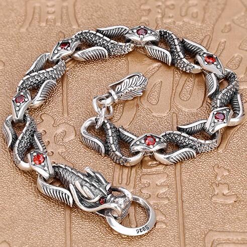Handmade 925 Silver Dragon Chain Bracelet Man Bracelet Thailand Sterling Siilver Dragon Bracelet 9mm handmade thailand 925 siilver bracelet vintage sterling silver chain bracelet pure silver man bracelet