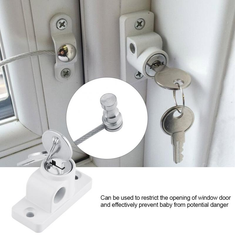 Window Door Guard Restrictor Baby Kid Safety Security Cable Lock Catch Wire Rope