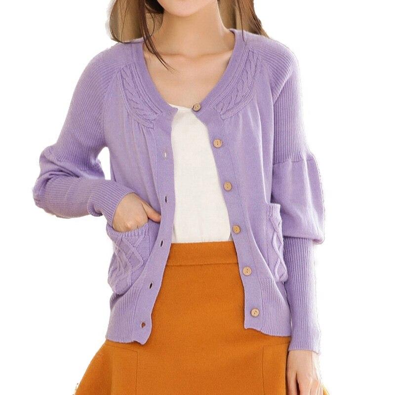2018 Korea Style New Fashion Women Single Breasted V Neck Short Cashmere Cardigan Sweater for Female Outerwear Coat