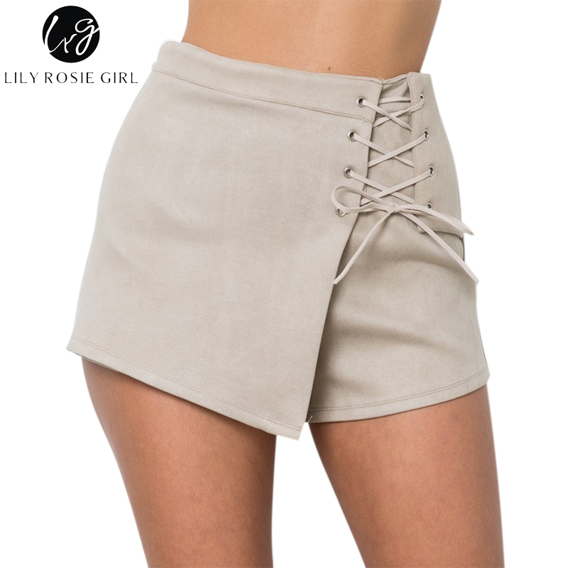 Lily Rosie Girl Beige Lace Up Suede Leather Casual Shorts Women Autumn Winter Black Sexy High Waist Shorts Mujer Ladies Shorts
