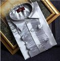 Envío gratis nueva plata de la llegada gris ruffles mens smoking camisetas camisas / medieval camisa
