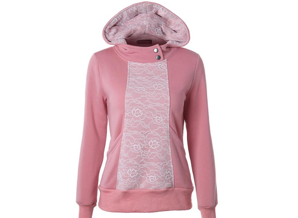 New 2016 Women Spring Autumn Fashion Lace Patchwork Hoodies Casual O Neck Long Sleeve Sweatshirts 5
