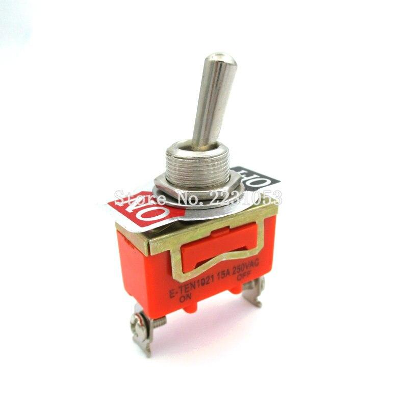 2 шт./лот ON-OFF 15A 250V переключатель, 2-контактный переключатель, металлический цвет, стандарт освещения