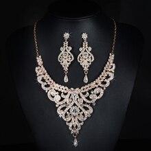 2017 New Arrival Rose Gold Austrian Crystal Rhinestones Flower Alloy Wedding Jewelry Set Bridal Necklace Earring Set Bridesmaids