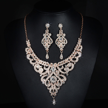 2017 New Arrival Rose Gold Austrian Crystal Rhinestones Flower Alloy Wedding Jewelry Set Bridal Necklace Earring Set Bridesmaids