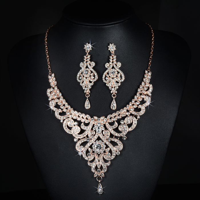 SLBRIDAL Nový příjezd Rose Gold Austrian Crystal Rhinestones Alloy Svatební šperky Set Svatební náhrdelník Náušnice Set družičky