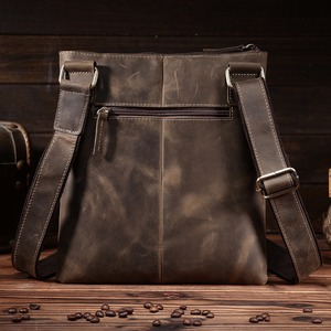 Image 2 - NEWEEKEND Retro Casual Genuine Leather Cowhide Crazy Horse Thin Slight Buckle Shoulder Crossbody iPad Bag for Man 8021 1