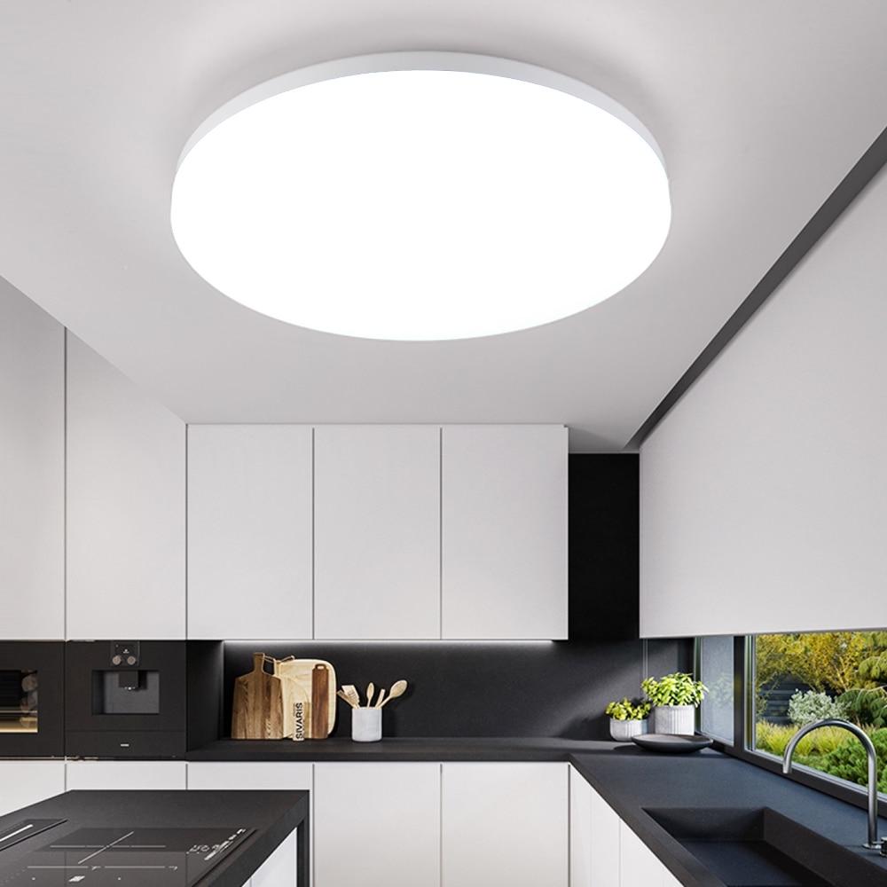 Nordique moderne Designer rond blanc LED plafonnier luminaires lampe pour salon Loft décor cuisine salle à manger chambre