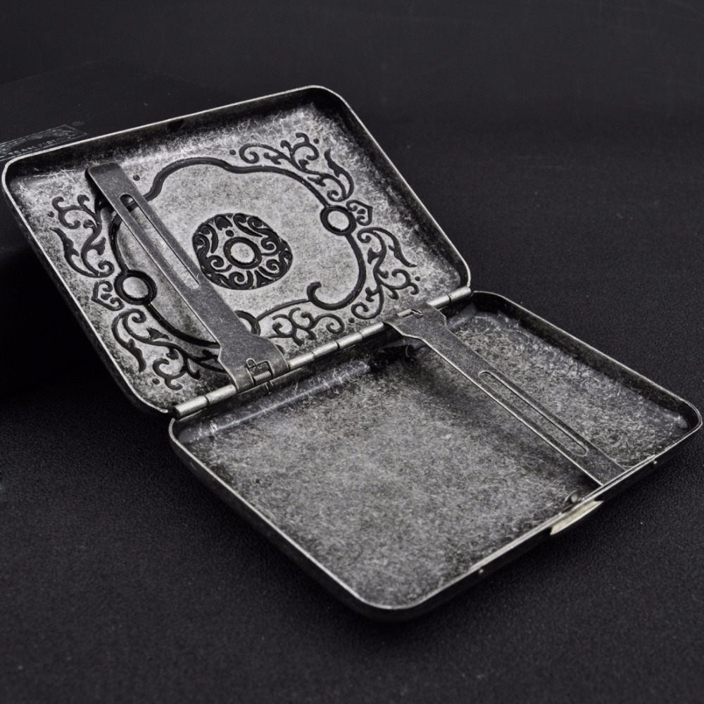 Engraved Flower Antique Silver Metal