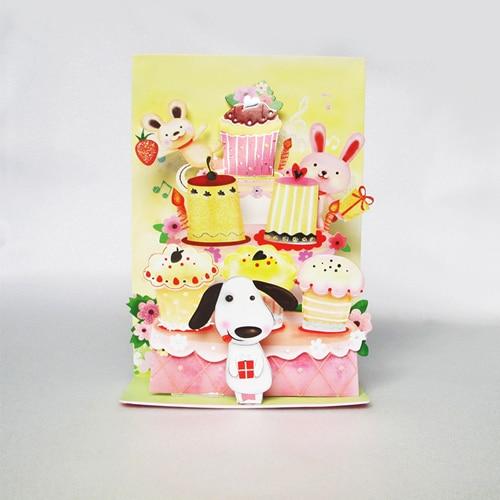 Cartoon Series Animal Cake Handmade Kirigami Origami 3d Pop Up