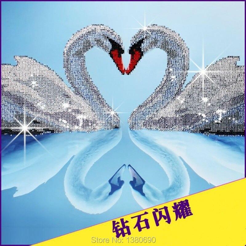 ④En forma de corazón del cisne rhinestone DIY 5d diamante pintura ...