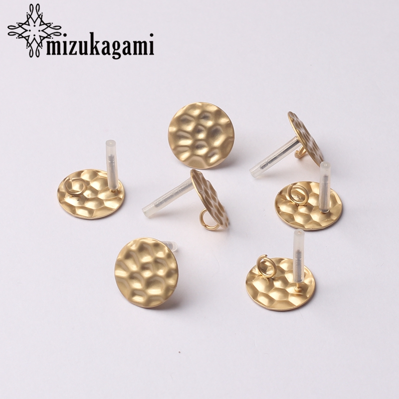 Earrings Jewelry Making Accessories Zinc Alloy Golden Ripple Round Base Earrings Connector 15MM 6pcs/lot