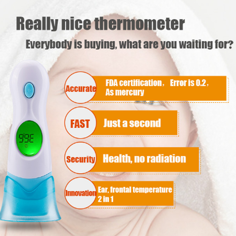1 Pc 8 in 1 Digital LCD Infrared Ear Thermometer Forehead for Baby Toy Family Health Care of Children's Electronic Thermometer