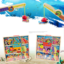 50pcs/set Kids Wooden Toy Children Magnetic Fishing Rod Model Bath Fun Toy Set Cartoon Baby Puzzle Magnetic Fishing Game Toy