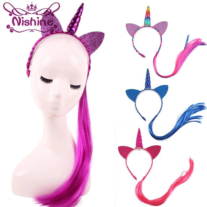 Nishine Unicorn Headbands Wig Hair-Accessories Ponytail Braid Glitter Ears Rainbow-Color