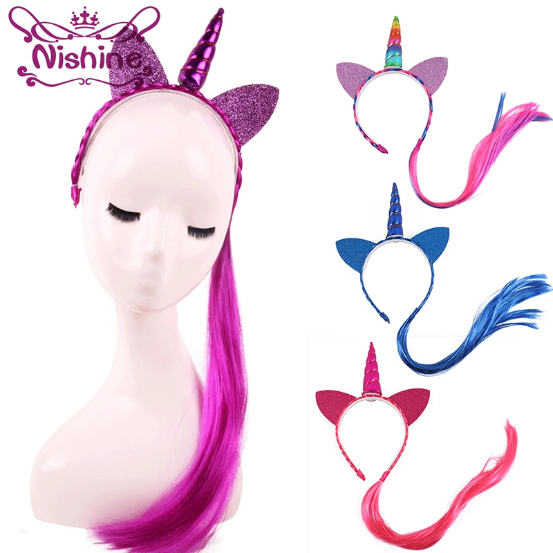Nishine Rainbow Color Ponytail Unicorn Headbands Glitter Ears Kids Girls Princess Braid Wig Hairbands Hair Accessories