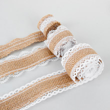 1m/roll width 2.5cm Natural Jute Burlap Lace Edge Hessian Ribbon Satin Bow Rustic Vintage Sisal Trim Craft Wedding Party Supply(China)