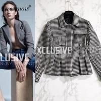 High Quality Hot Sale Autumn Clothing Elegant Houndstooth Coat Women High Waist Blazer Office Ladies