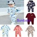 2016 bobo choses niño, bebé, bebé ropa de la muchacha niños ROJO VERDE panda jumpsuits mameluco kikikids vestidos ropa de bebé