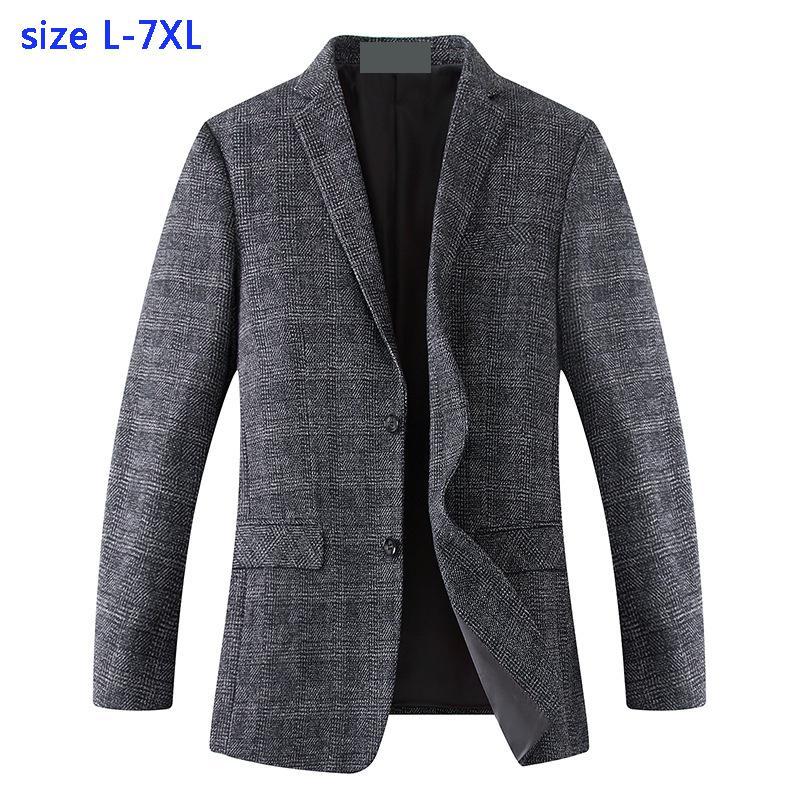 New arrival moda bardzo duża mężczyźni garnitur kurtka luźny z wełny chusta na co dzień pojedyncze łuszcz mężczyzna Blazers plus rozmiar XL 4XL5XL6XL7XL w Marynarki od Odzież męska na  Grupa 1