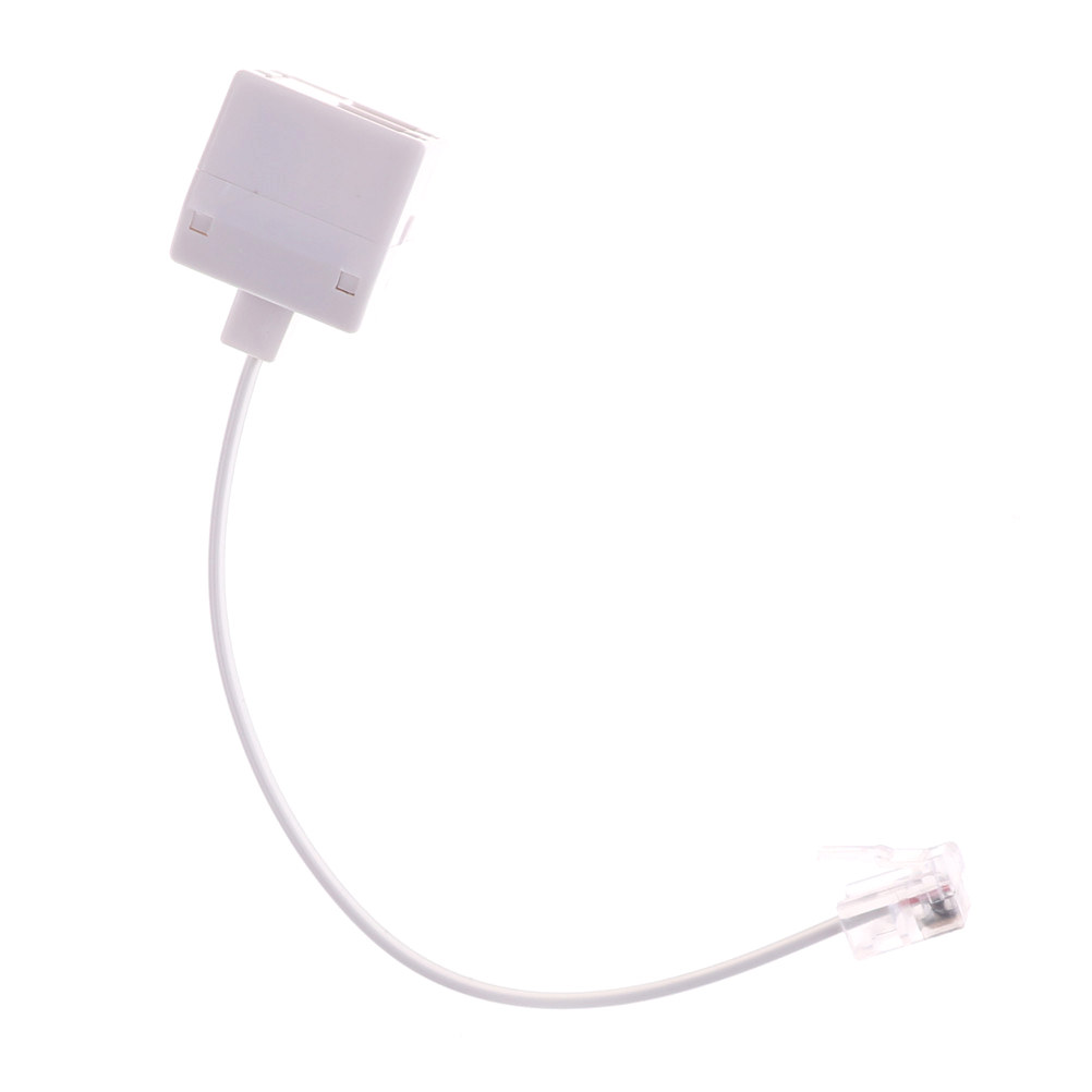 1pcs 100-120mm White 6P4C RJ11 Dual Female To Male Telephone Cable Splitter Adapter Telephone RJ11 Male Line Filter Connector