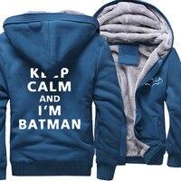 Fashion Hoodies For Men Print Letter Keep Calm And I'm Batman Casual Sweatshirts 2017 Winter Fleece Hoody Thick Zipped Tracksuit