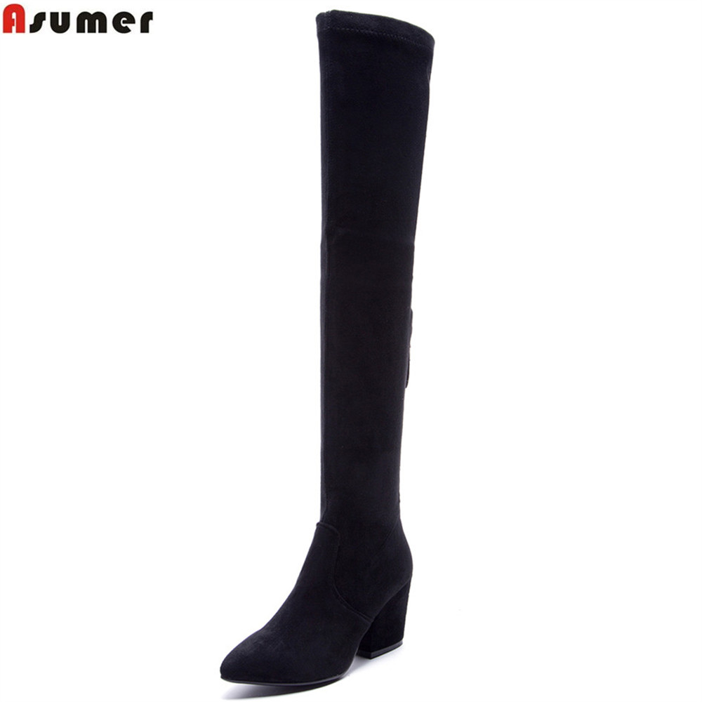 ASUMER hot sale new women boots black brown Dark grey cow suede boots pointed toe zipper autumn winter over the knee boots asumer 2018 hot sale new arrive women boots pointed toe black autumn winter ladies boots zipper buckle over the knee boots