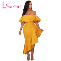 Liva Girl Women Dresses Asymmetric Hem Ruffle Off Shoulder Party Dress Femme Sexy Slash Neck Midi