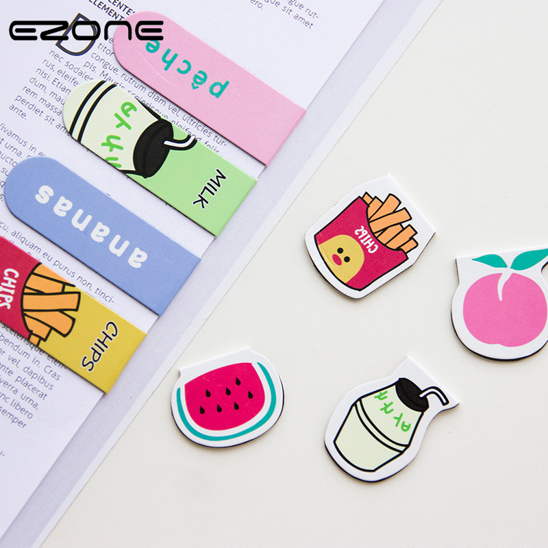 EZONE 1 PC Magnetic Bookmark Printed Kawaii Cat/Lemon/Peach/Chip Magnet Book Mark For Children Reading Book Holder School Supply