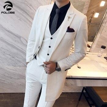 FOLOBE 2020 Korean Fashion 3 Piece Long Men Tuxedo Suits Wedding Prom Party Dresses Slim Fit Men's Solid Suit Party Stage Wear