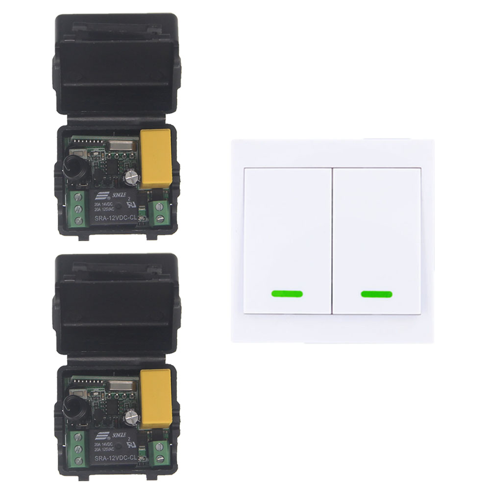 Home 220V 1CH RF Wireless Remote Control Switch System For LED Stairs Ceiling Light Strips,Receiver + 2CH 86 Wall Transmitter 24v 1ch rf wireless remote switch wireless light lamp led switch receiver