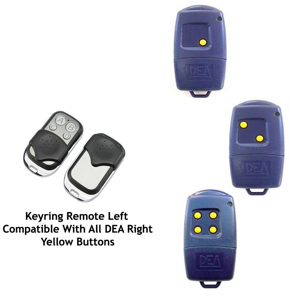 Automatic Gate Remote Control Copy DEA 433-1 433-2 433-4 Yellow Button Universal Remote Control, Transmitter 433.92 MHZ Key Fob