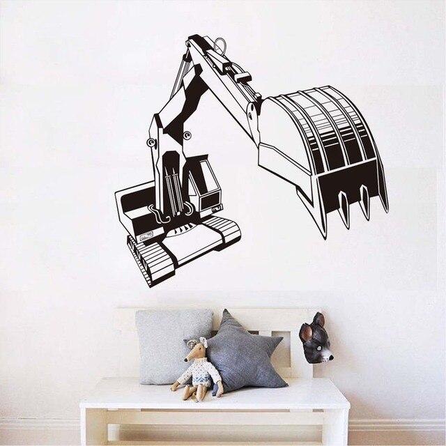 Digger Crane Kids Traffic Wall Art Decal Sticker Vinyl Wallpaper Removable Waterproof Bedroom Decals Home