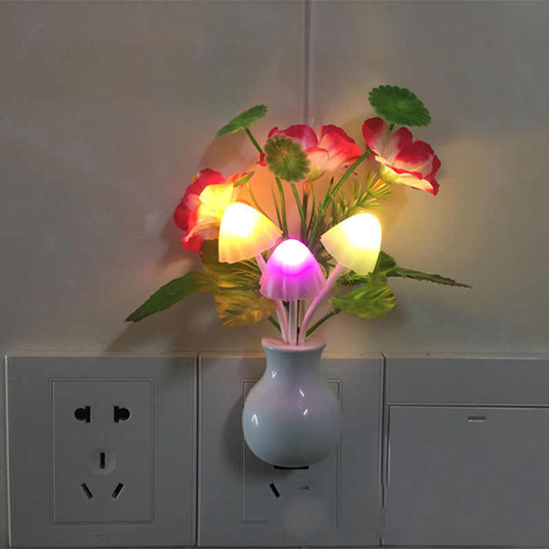 Romantic LED Night Light Sensor Plug-in Wall Lamp Home Illumination Mushroom Fungus colorful Light US Plug