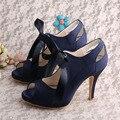 Wedopus MW131 Marinha Lace-up Sapato de Casamento Da Noiva de Cetim para As Mulheres Do Dedo Do Pé Aberto