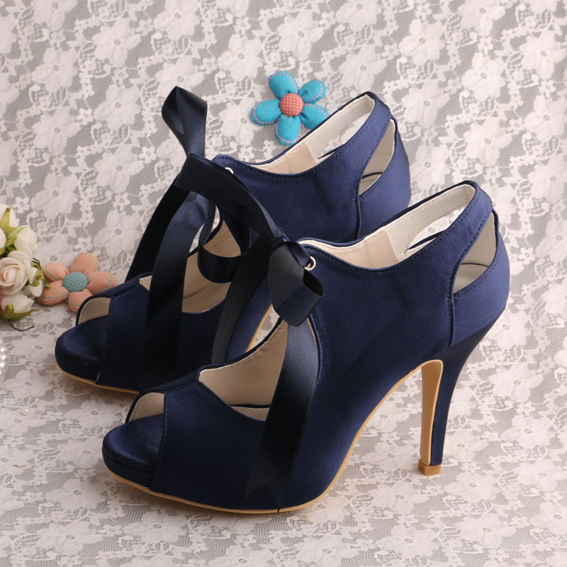 Wedopus Navy Blue Lace Up Bride Wedding Shoe Open Toe Satin For Women Evening Shoes